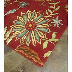 Hand-tufted Antoinette Red Wool Rug (5' x 7'6) - Thumbnail 2