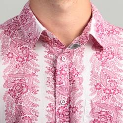 Vintage Red Men's Floral Woven Shirt