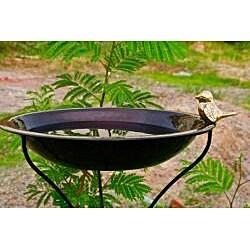 Copper Finish Round In-Ground Birdbath