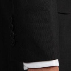 Andrew Marc New York Men's Peak Lapel 2-button Black Wool Suit - Thumbnail 2