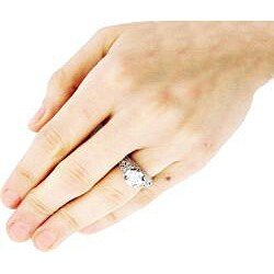 Sterling Silver Cubic Zirconia Engagement-style Ring - Thumbnail 2