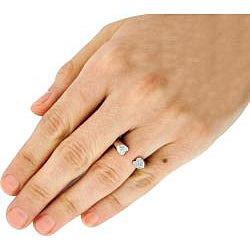 Sterling Silver Pave-set Cubic Zirconia Heart Anniversary-style Ring