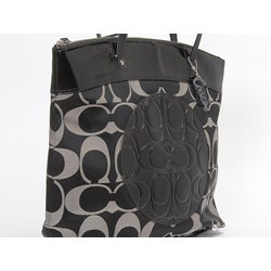 Coach 'Laura North South' Black Grey Signature Tote Bag