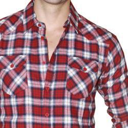 191 Unlimited Men's Red Plaid Flannel Shirt - Thumbnail 2
