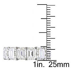 Miadora 18k White Gold 10 3/4ct TDW Emerald-cut Diamond Ring (D-E, VVS1-VVS2) - Thumbnail 2