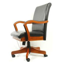 Innovex Black Leather and Cherry Wood Executive Chair on Five Casters - Thumbnail 2