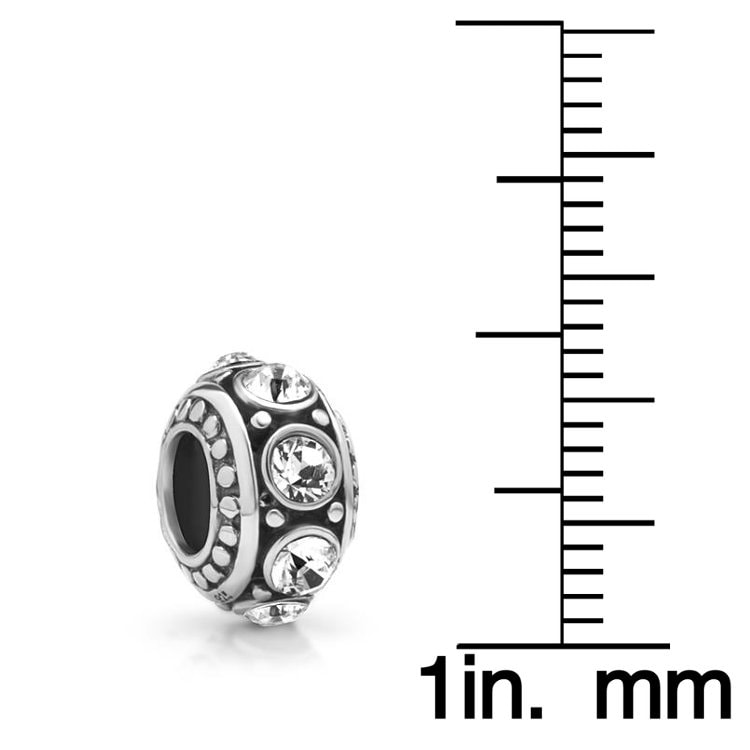Chuvora Sterling Silver Clear Cubic Zirconia Charm Bead - Thumbnail 2