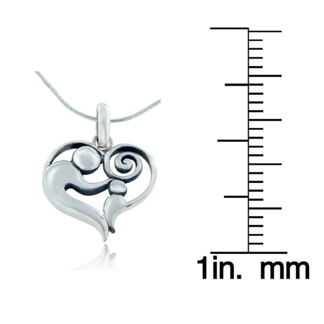 Sterling Silver Heart Shaped Love Pendant Necklace - Thumbnail 2