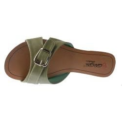 Elegant by Beston Women's 'SANDRI-6' Green Buckle Sandals