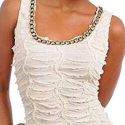 Stanzino Women's Cream Beaded Ruched Dress - Thumbnail 2