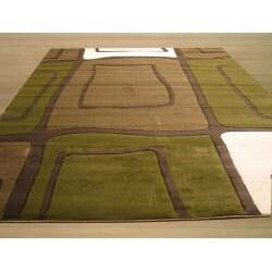 Tangir Green/ White Rug (7'10 x 9'10) - Thumbnail 2