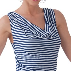 Women's Striped Cowl Neck Tunic Top