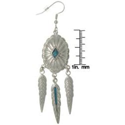 Carolina Glamour Collection Pewter Created Turquoise Southwest-style Feather Earrings