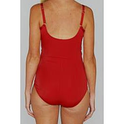 Jantzen Classic Surplice Wrap One-piece Red Swimsuit - Thumbnail 2