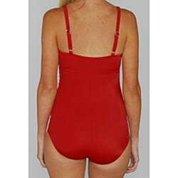Jantzen Classic Red Shirred 1-piece Swimsuit - Thumbnail 2