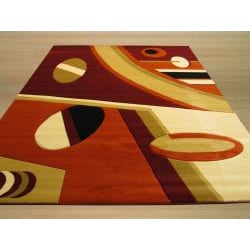 Hand-carved Geometric Design Kirk Red Rug (7'10 x 9'10)