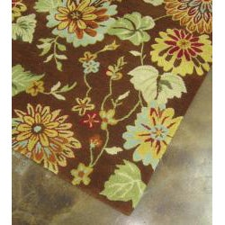 Antoinette Hand-tufted Brown Wool Rug (7'10 x 11')