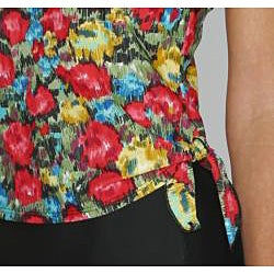 Island Pearls Missy Red Floral Faux 1-piece Tankini - Thumbnail 2