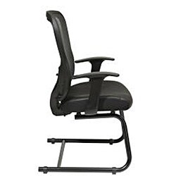Offiice Star Deluxe R2 SpaceGrid Back Visitors Chair with Fixed Arms and Leather Seat - Thumbnail 2