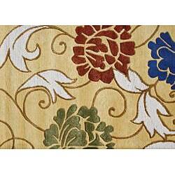 Alliyah Handmade Honey Gold New Zealand Blend Wool Rug (8' x 10') - Thumbnail 2