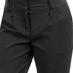 Stanzino Women's Black Cuffed Pleated Pants - Thumbnail 2