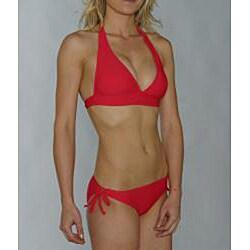 Island World Junior's Red Halter Keyhole Bottom Bikini - Thumbnail 2