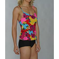 Island Love Women's Black/ Floral Faux Tankini