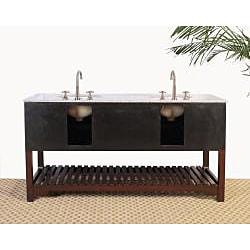 Granite Top 68-inch Double Sink Bathroom Vanity - Thumbnail 2