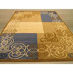 Hand-carved Blue/ Beige Art Deco Rug (5'3 x 7'3)