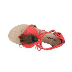 Neway by Beston 'Fawn' Women's Coral Peacock Gladiator Thong Sandals