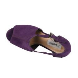 Neway by Beston 'Daisy-02' Women's Purple Peep-toe Chunky Heels