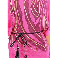 Stanzino Women's Fuschia Printed Kimono Sleeve Top - Thumbnail 2
