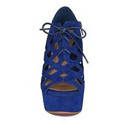 Neway by Beston Women's 'Adela' Blue Wedges Sandals