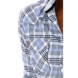 191 Unlimited Mens Blue Large Plaid Woven Shirt