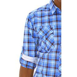 191 Unlimited Mens Bright Blue Plaid Woven Shirt