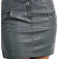 Stanzino Women's Plus-size Dark Grey Mini Skirt - Thumbnail 2