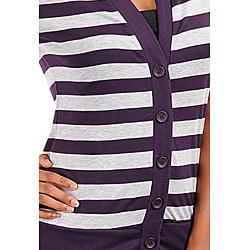 Stanzino Women's Plus-size Purple/Grey Striped Top - Thumbnail 2