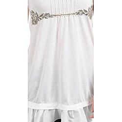 Stanzino Women's Plus-size Ivory Sleeveless Babydoll Top - Thumbnail 2