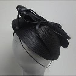 Swan Hat Women's Black Satin Ribbon Cocktail Fascinator - Thumbnail 2
