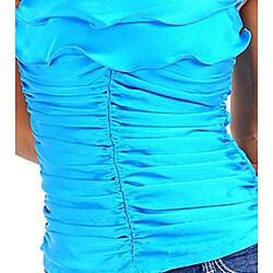Stanzino Women's Blue Rosette Ruffled Halter Top