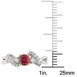 Miadora 14k Two-tone Gold 3/8ct TDW Pink and White Diamond Ring - Thumbnail 2