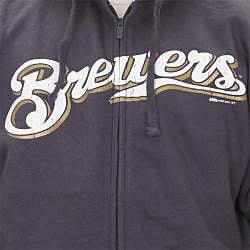 Stitches Men's Milwaukee Brewers Full Zip Hoodie - Thumbnail 2