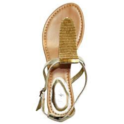 Oceanstar Women's Gold T-Strap Thong Sandals