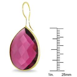 Miadora 22k Gold Overlay 28ct TGW Rhodolite Dangle Earrings - Thumbnail 2