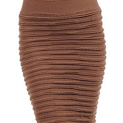 Stanzino Women's Brown Wrinkle Seamless Skirt - Thumbnail 2
