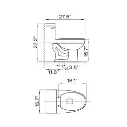 'ROCHESTER' Contemporary European Toilet with Single Flush and Soft Closing Seat - Thumbnail 2