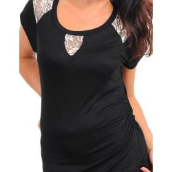 Stanzino Women's Plus Size Black Lace Cut-out Top