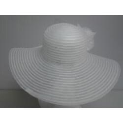 Swan Women's White Crinoline Flower-topped Floppy Hat