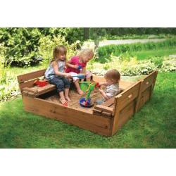 Badger Basket Covered Convertible Cedar Sandbox with Two Bench Seats - Thumbnail 2