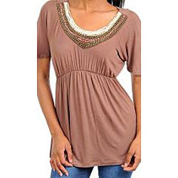 Stanzino Women's Brown Embellished Neck Tunic